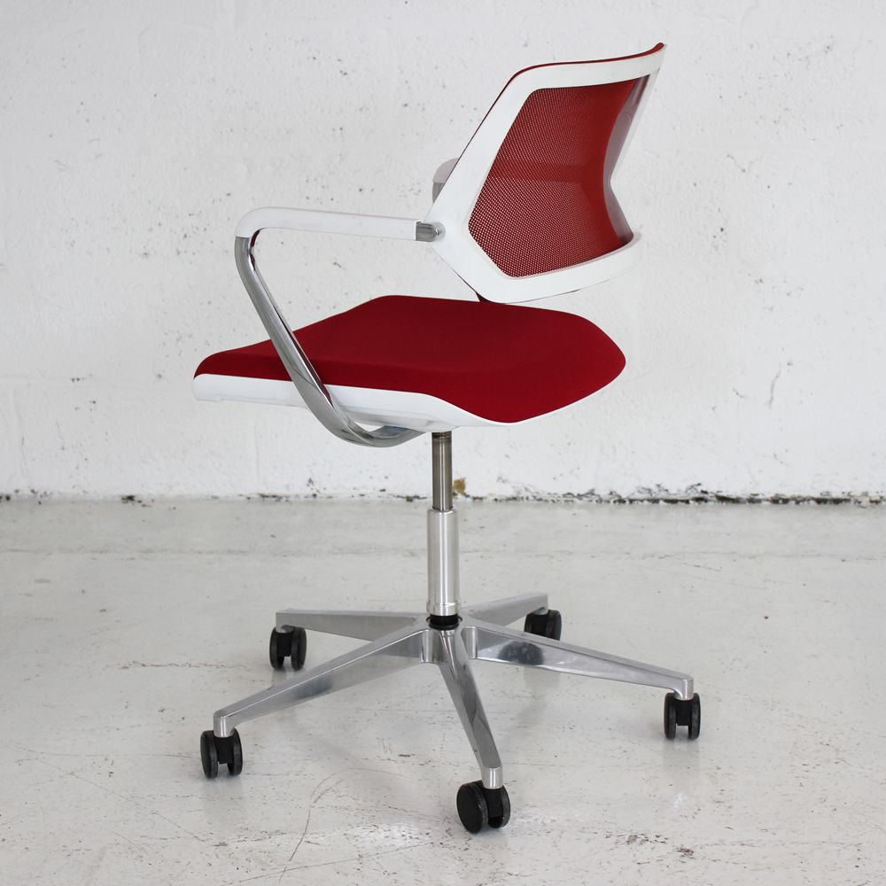 white mesh office chair uk holiday back covers steelcase qivi | red meeting conference